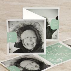 Happy New Year met deze fotokaart in trendy muntgroen | Tadaaz #fris #hip #happy #drieluik #kerstkaart #foto