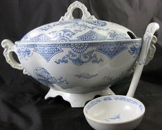 Huge Aesthetic Transferware Tureen with Original Ladle - 1879 - For sale on Ruby Lane #RubyLane