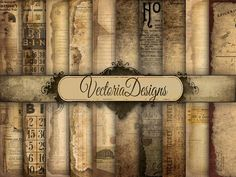 10 large shabby chic ephemera 12x12 inch papers  Same papers in 8.5 x 11 inch format: www.etsy.com/listing/150803944/instant-download-ephemera-digital-paper  What you actually want to know: ° 10 high quality (300 dpi) 12 x 12 inch digital images ° in five zip folders - you need unzipping software ° JPG  Want these papers plus many more bundled up with a super discount?www.etsy.com/listing/294127393/80-off-mega-paper-pack-sale-digital ________________________  Save money, use these discount…