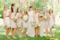 Amazing Bridesmaid Dresses To Go With Lace Wedding Dress Cream Bridesmaids, Neutral Bridesmaid Dresses, Wedding Bridesmaids, Wedding Bells, Fall Wedding, Chic Wedding, Rustic Wedding, Used Wedding Dresses, Wedding Beauty