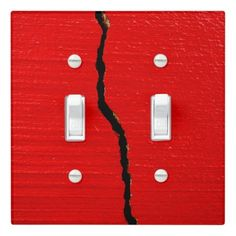 #trendy - #Cracked Red Paint Light Switch Cover