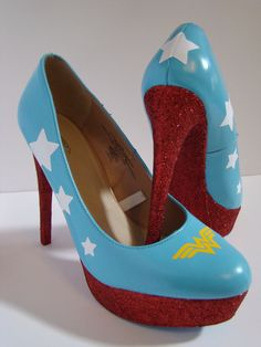 WW Comic Heels Custom made to order.  @Katherine Adams Huertas @Betsy Buttram Garcia  ooohhhh