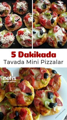 Tavada 5 Dakikada Mini Pizzalar – Nefis Yemek Tarifleri How to make mini pizzas in pan in 5 minutes? Mini Pizza Recipes, Pizza Snacks, Turkish Recipes, Ethnic Recipes, Wie Macht Man, Breakfast Items, Smoothie Recipes, Food And Drink, Yummy Food
