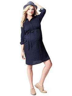 The Dot Tie-Front Maternity Shirtdress  | Gap