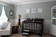 baby boy navy and gray nursery | Would want to change detailing to navy instead of light blue.