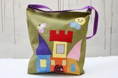 Canvas Tote Bag with Applique Castle. Green Bag. Laptop by Loutik, €30.00
