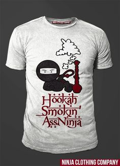 """Hookah Smokin Ass Ninja in White. 100% Cotton - Spring 2013 release. Only 150 shirts will be made in this color. """"We Define Exclusivity"""" Once out of Stock there will be no RE-Stocks.. go to www.ninjaclothingco.com and enter in your name and email for ALERTS on Spring Launch/Release!!!"""