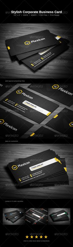Stylish Business Card  #GraphicRiver         Stylish Business Card comes with a detailed texture background (normal background is included as well), and can be used for almost any kind of company, or even personal use.   The card comes in four different color versions (yellow, blue, red & green). However unlimited color variations can be made.   All text layers can be changed with one click. All objects, including logo can be resized without any quality loss (vector shapes).   Details  …