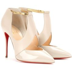 Christian Louboutin Dictata Leather Pumps (1 345 AUD) ❤ liked on Polyvore featuring shoes, pumps, neutrals, leather footwear, christian louboutin pumps, real leather shoes, leather shoes i genuine leather shoes