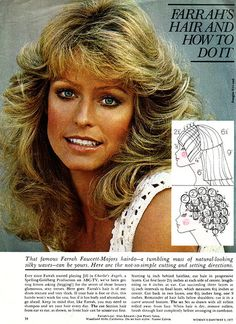 Farrah Fawcett haircut and styling instructions! Been looking for this for YEARS! Farrah Fawcett haircut and styling instructions! Been looking for this for YEARS! 1970s Hairstyles, Vintage Hairstyles, Wedding Hairstyles, Farrah Fawcett, Roller Set, Feathered Hairstyles, Corpus Christi, Hair Dos, Bun Hair