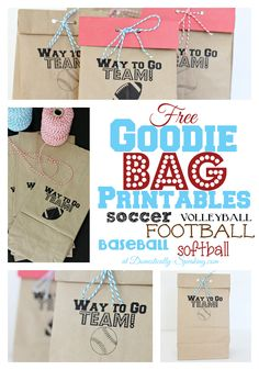 Free Sports Goodie Bag Printable - SO CUTE! Ones for Soccer Football, Baseball, Softball and now Volleyball!!!