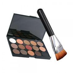 15-Color Makeup Eye Shadow Eyeshadow Palette Kit with 163 Flat-end Bru