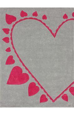 Keno Hearts Grey Rug- so cute for a nursery!