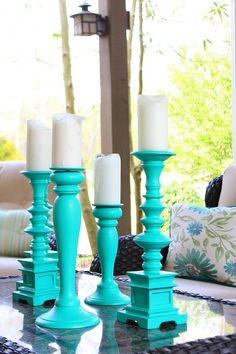 Take a collection of random Goodwill candlesticks and create an amazing centerpiece - Patio Refresh with HomeRight Finish Max Pro | Refresh Restyle