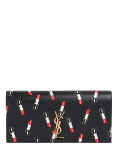 MONOGRAM LIPSTICK PRINT LEATHER CLUTCH