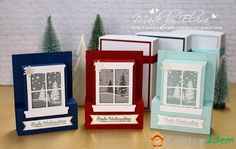 Fenster-Weihnachtskarten ⋆ Elviras Stempelzimmer Today's the second variant of my Christmas cards. Homemade Christmas Cards, Christmas Cards To Make, Xmas Cards, Homemade Cards, Handmade Christmas, Holiday Cards, Christmas Crafts, 3d Cards, Pop Up Cards