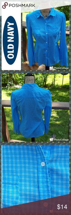 "NEW LISTING! Old Navy In excellent condition.  Old Navy shirt. 100% cotton turquoise and white plaid button down front. Long sleeves with button cuffs.  Double patch pockets with trim. Rounded collar. Measurements are length 25"", sleeves 23"", bust 38"". Old Navy Tops Button Down Shirts"