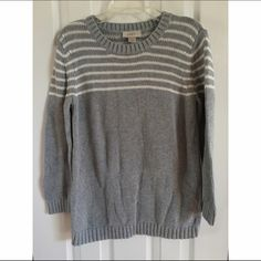 Loft striped sweater Loft brand striped sweater in gray with white stripes. size marked medium, would also work for a small. Warm for winter. Has one flaw, a small hole that can be sewn back together. Only worn three times. LOFT Sweaters Crew & Scoop Necks