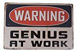 awesome Warning Genius At Work Humorous Tin Signal Bar Pub Storage Diner Cafe House Wall Decor House Decor Artwork Poster Retro Classic