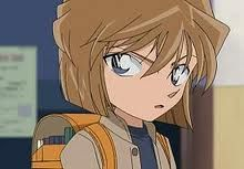 Ai Haibara (#2) - She is like Shinichi. Her real name is Shiho Miyano. Her codename was Sherry, but the death of her older sister made her turn away from the Underground Crime Ring. When the Underground decided to kill her, they handcuffed her to a pipe on the wall to await her execution. Since they were going to kill her, she took her own drug, intent on killing herself first. Instead, she was shrunk, and her hand was able to slip out of the handcuffs. Seiyuu: Megumi Hayashibara