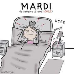 réveil, semaine, mardi, dur, long, dessin, fatigue, dormir
