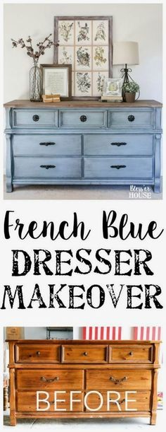 French Blue Dresser Makeover | blesserhouse.com - An orange wood thrifted dresser gets a French blue makeover using Fusion Mineral Paint in Champness and Homestead House Wax in Espresso. #shabbychicdressersmakeover