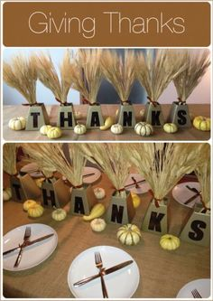 Mini Metallic Lettered Thanksgiving Centerpieces with Wheat Bundles