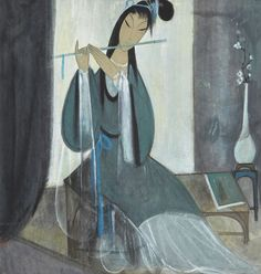 Lin Fengmian (1900-1991) RESONANCE OF THE JADE FLUTE. 林風眠 (1900-1991)  玉笛清音 設色紙本 立軸 款識: 林風眠。  鈐印:「林風瞑印」。 67 by 64.1 cm. 26 3/8 by 25 ¼ in.
