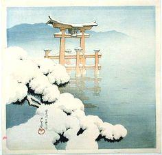 Kawase Hasui: Lingering Snow at Miyajima - Japanese Art Open Database