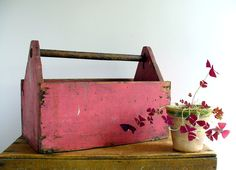 Love the color of this Vintage Wood Tool Box!