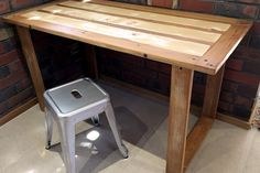 Simple U-leg table built from recycled timber with original paint. Raw Furniture, Rustic Furniture, Furniture Making, South Australia, Farmhouse Table, Drafting Desk, Recycling, Paint, The Originals