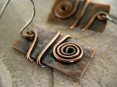 Copper Earrings Rectangle Jewelry Sterling Silver by ZorroPlateado, $18.00