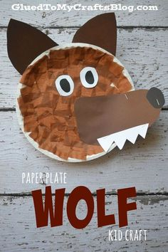 Paper Plate Wolf {Kid Craft} - Pappteller - Cute and easy wolf craft. This would be great for Peter and the Wolf or for dramatizing Little Red - Paper Plate Crafts For Kids, Animal Crafts For Kids, Daycare Crafts, Preschool Crafts, Preschool Christmas, Toddler Art, Toddler Crafts, Wolf Craft, Wolf Kids