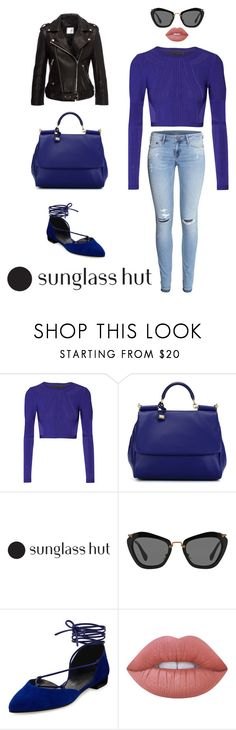 """Shades of You: Sunglass Hut Contest Entry"" by mrvsda ❤ liked on Polyvore featuring Cushnie Et Ochs, H&M, Dolce&Gabbana, Miu Miu, Stuart Weitzman and Lime Crime"