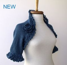 Blue COTTON Bridal Shrug  Use 4 SeasonEXPRESS by knittingshop, $62.00
