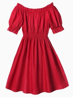 Red Off Shoulder Waisted Skater Dress - dress for pear bodyshape #pearbody