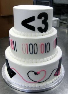 Did you meet your special someone online? Here's the cake for you! .. Binary Style - Social Media - Geeky Wedding Cake