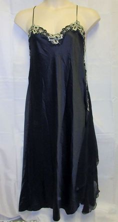 Reger By Janet 16 1x Black Nightgown Long Gown Lingerie Satin Silky Sexy Plus  #Reger #Gowns #Glamour