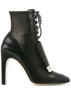 SERGIO ROSSI lace-up square toe boots. #sergiorossi #shoes #