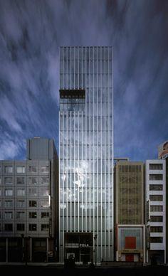 Pola Ginza Building by Nikken Tokyo Architecture, Office Building Architecture, Colour Architecture, Minimal Architecture, Amazing Architecture, Glass Curtain Wall, Building Elevation, Glass Facades, Environmental Design