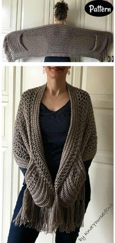 Shawl Crochet, Crochet Wrap Pattern, Crochet Shawls And Wraps, Crochet Scarves, Crochet Clothes, Crochet Stitches, Knitting Patterns, Knit Crochet, Crotchet