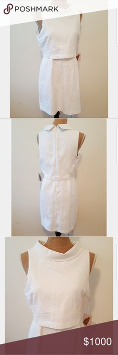 NWT White 60s Style Faux Crop Dress Hello! This is a lovely white one piece dress that has the appearance of two pieces.  Fabric has a pretty zig zag pattern throughout.  New with tags. 60s style mock turtle neck collar.  Sleeveless Back zipper. Size L.  Measurements to follow!  108099 Forever 21 Dresses