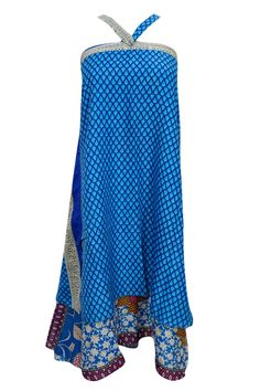 WOMEN'S REVERSIBLE MAGIC SKIRT BLUE VINTAGE SILK SARI BOHO LONG BEACH WRAP DRESS #mogulinterior #WrapSarong  #skirt #wrapskirt #bohemian #magicskirt
