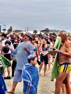 Polar Plunge on New Year's Day 2013, a tradition on #Tybee Island, Georgia USA
