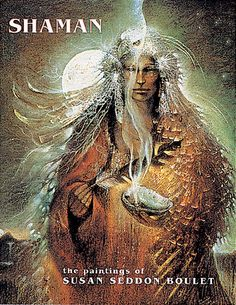 Susan Seddon Boulet's subtle colors and unique fusion of forms reflect the magical and spiritual powers of shamans. Boulet initiated a style very much her own in these paintings that focus on the spiritual well being of humankind. In native cultures around the world, shamans are healers who traverse the boundaries between the everyday world and the spirit realm.    Boulet's paintings delicately interweave images of woman, man, and beast with elements of myth and mysticism, evoking a…