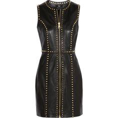 Versus Studded leather mini dress ($1,000) ❤ liked on Polyvore featuring dresses, vestidos, short dresses, black dresses, black, mini, leather zipper dress, versus dress, zip dress and leather cocktail dress