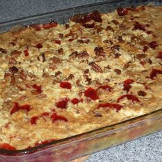 Dump Cake - one of my all-time favorites.  I always add coconut along with the chopped pecans, though.  Yummy!