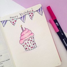 Happy Birthday to me!!!  I'm creating my birthday spread in my bullet journal. I'm planning to add at the bottom all the beautiful memories from this day.  Love how the cupcake turned out!