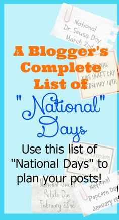 "This site may contain affiliate links. These links support Serendipity and Spice at no additional cost to you. Thanks for visiting! A Blogger's List of National Days There's a ""National"" day for EVERYTHING….we Americans LOVE celebrating! As a blogger it seems like I'm always behind on knowing exactly when National days are….you know what I...Read More »"