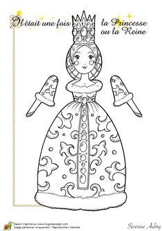 Coloriage d'une marionnette articulée, princesse ou reine, page 13 sur 14 sur HugoLescargot.com